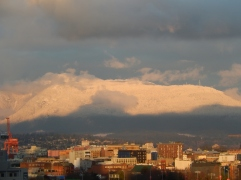 the view of Mt Seymour from the condo, December 2015